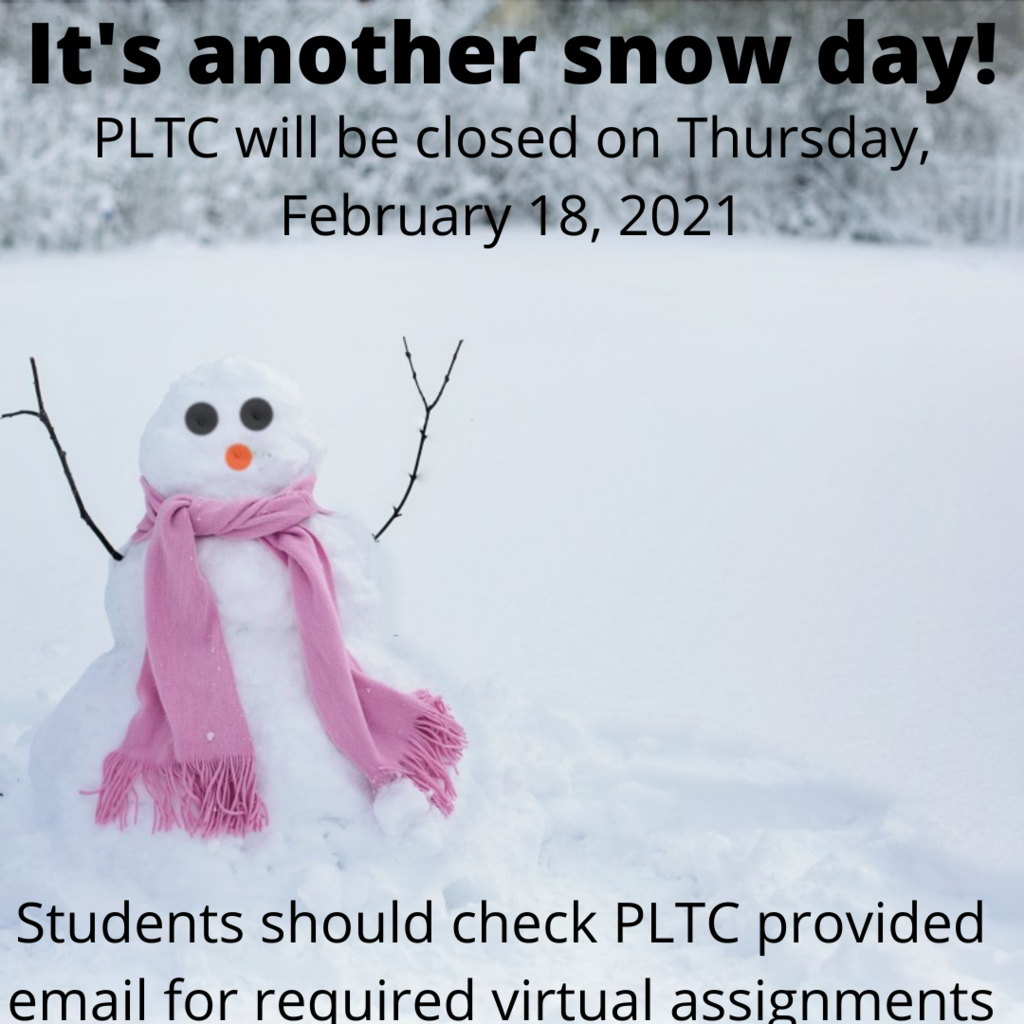 Snow person with PLTC closed text