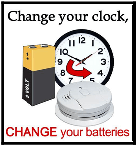 Clock, battery, and smoke detector... change clock and change batteries