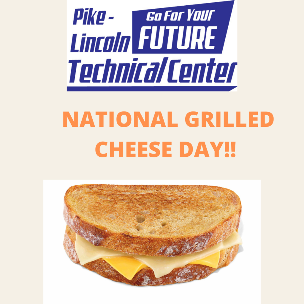 "Picture of a grilled cheese sandwich with ""National Grilled Cheese Day"""