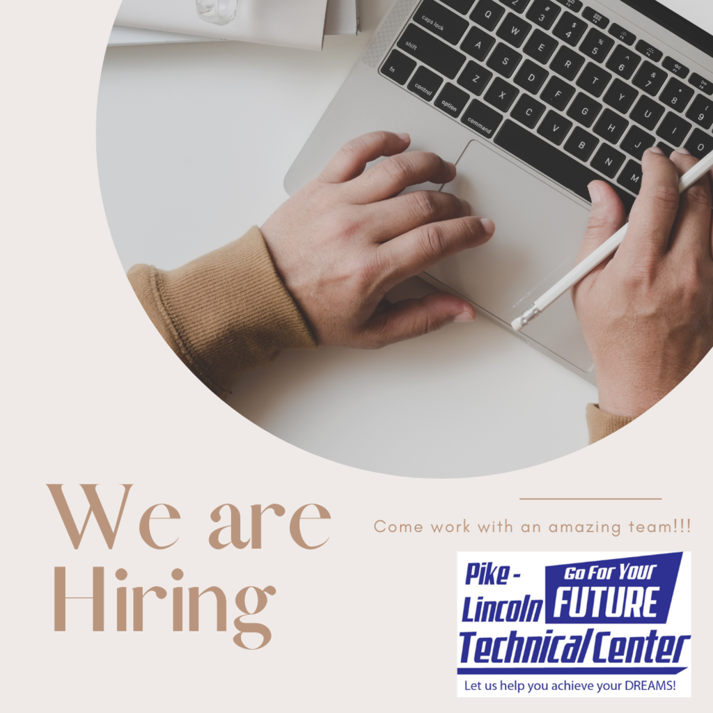 Person typing, we are hiring