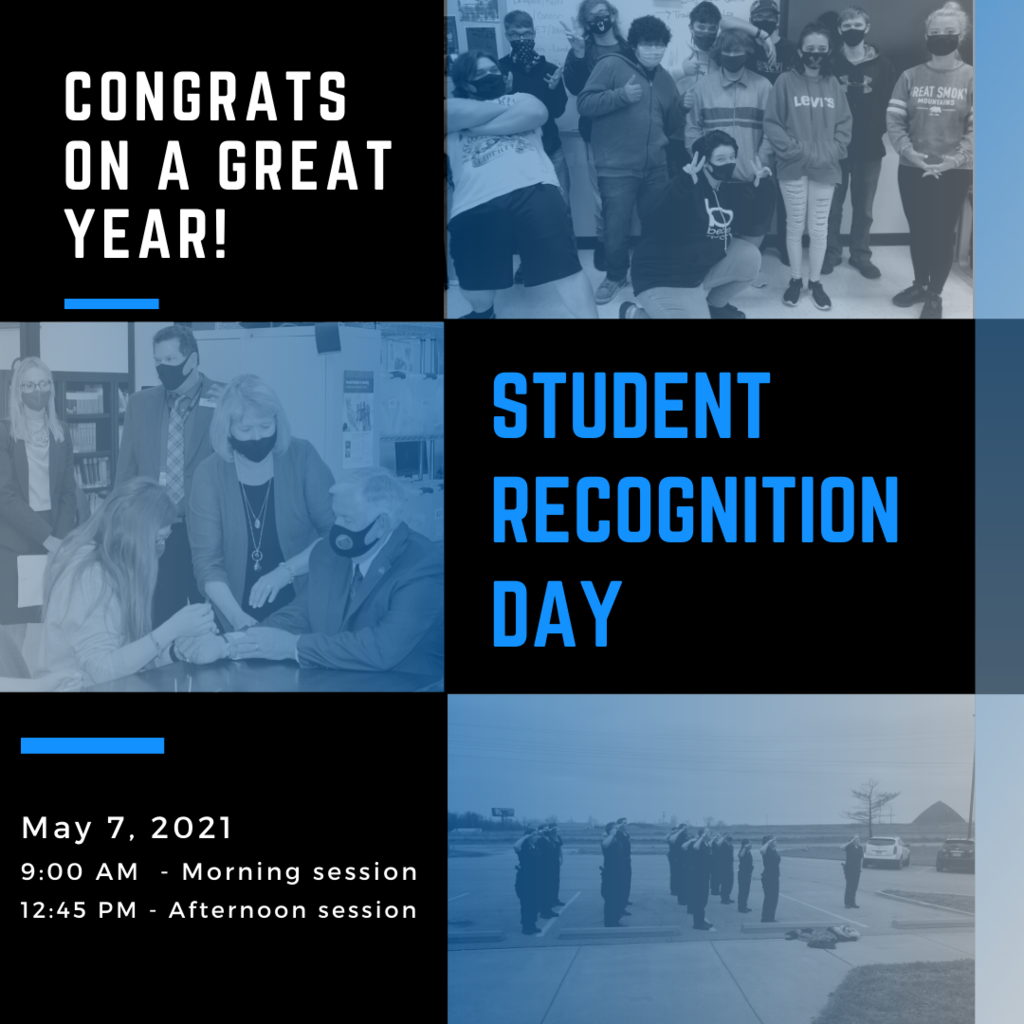Congrats on a great year - Student recognition day with images in the background