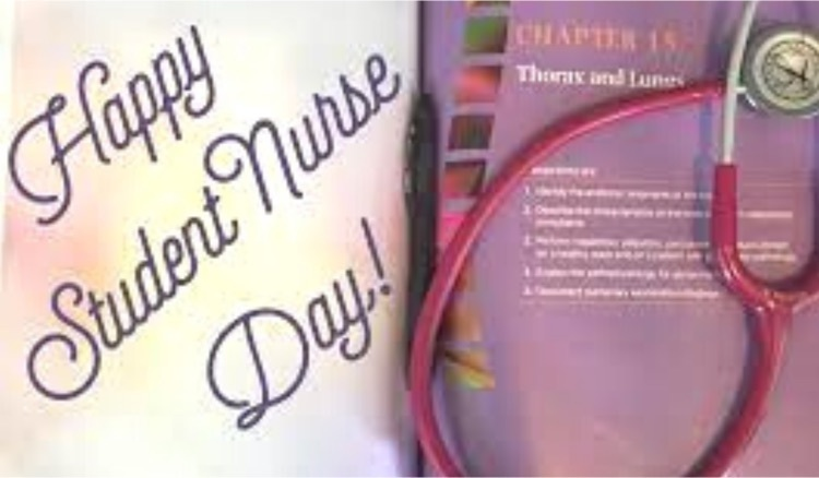 happy student nurses day with stethoscope on a medical text